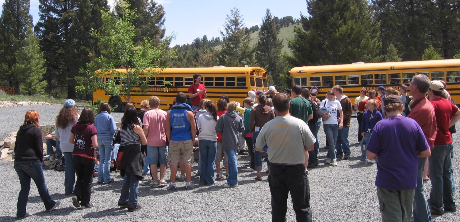 touring students returning to their bus